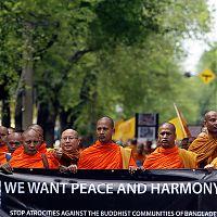 Протест монахов против насилия в Бангладеш