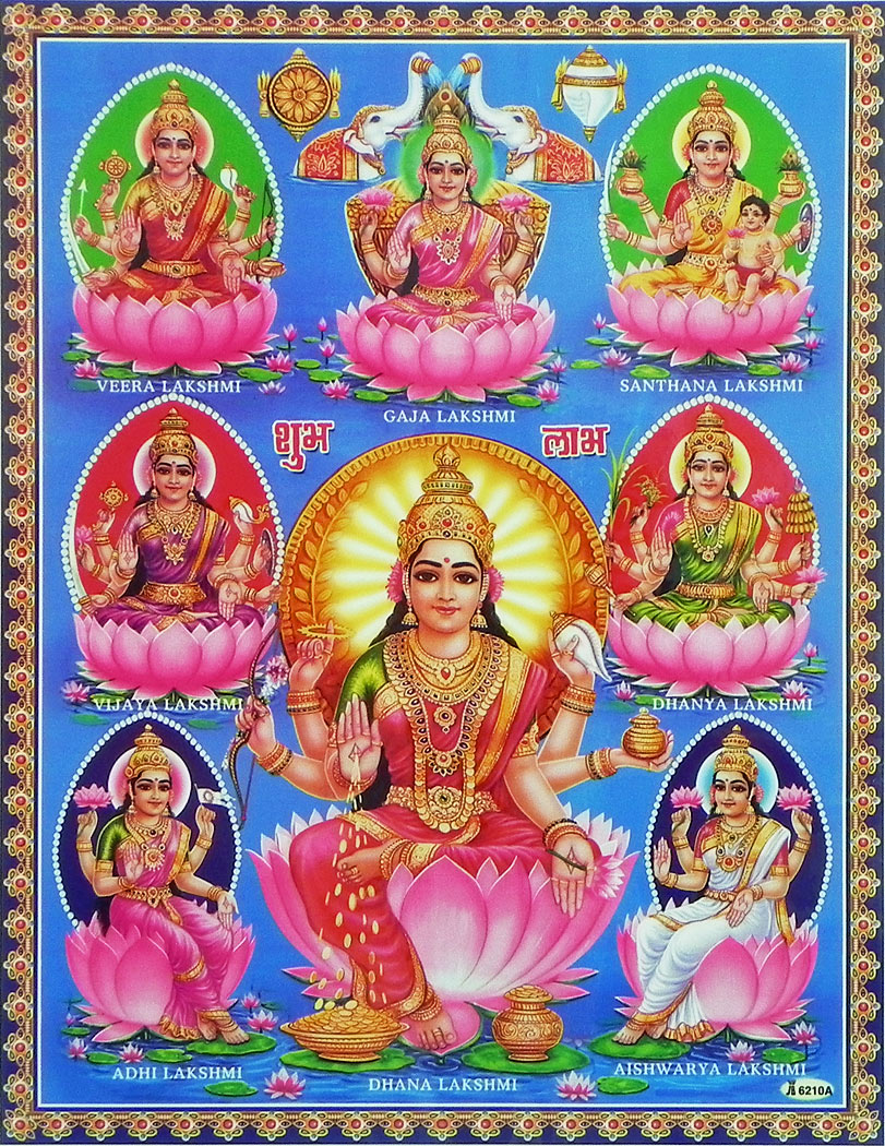 Восемь форм богини изобилия Лакшми